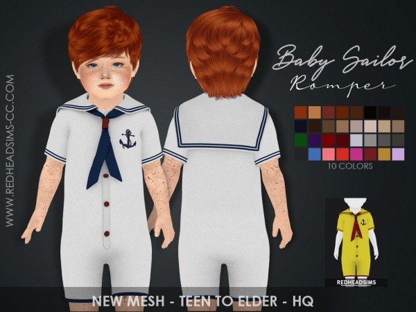 Red Head Sims: Baby Sailor Romper
