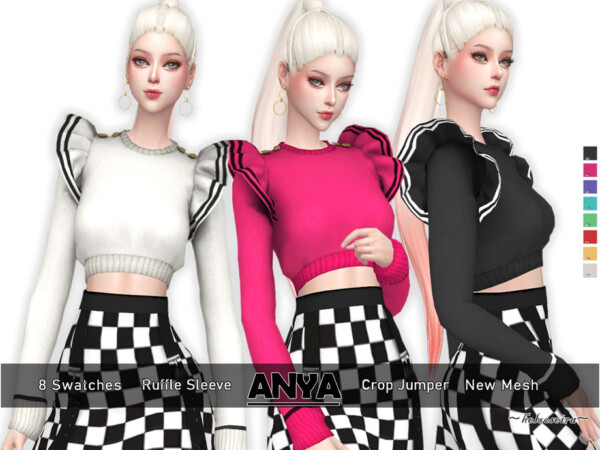 The Sims Resource: Anya Ruffle Sleeve Jumper by Helsoseira