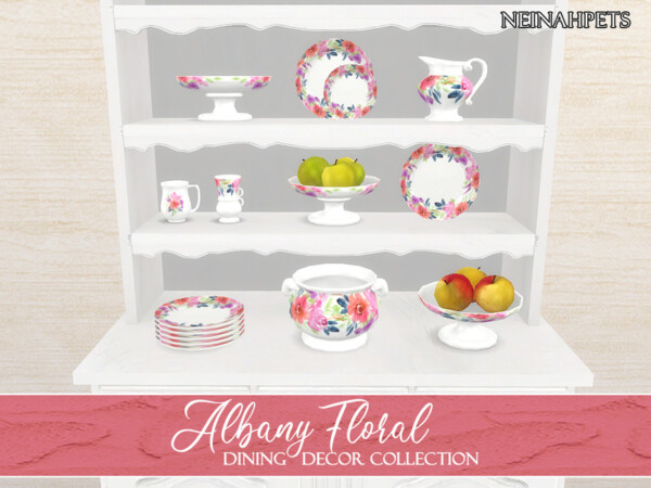 The Sims Resource: Albany Floral Dining Decor by neinahpets
