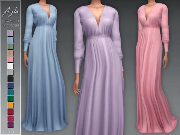 The Sims Resource: Ayla Dress by Sifix