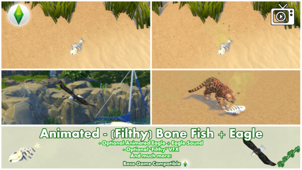 Mod The Sims: Animated Filthy Bone Fish and Eagle by Bakie