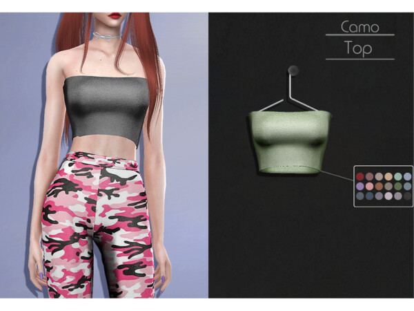 The Sims Resource: Camo Top by Lisaminicatsims