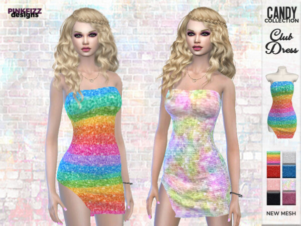 The Sims Resource: Candy Club Dress by Pinkfizzzzz