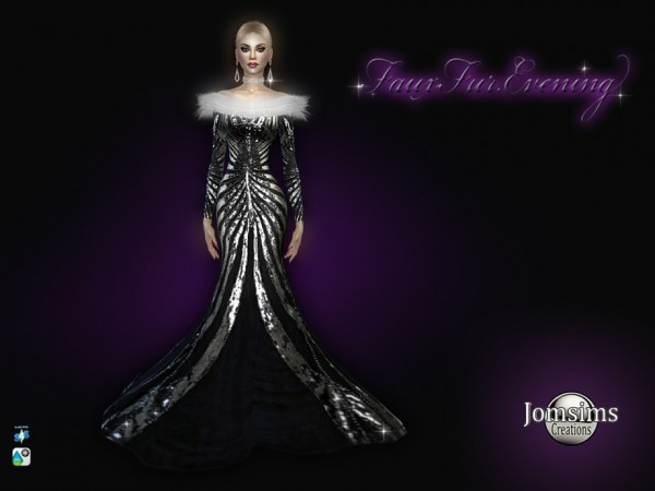 The Sims Resource: Fauxfur Evening dress by jomsims