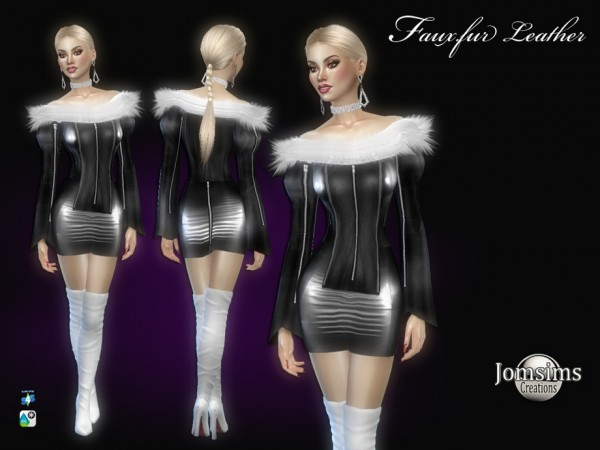 The Sims Resource: Fauxfur leather dress by jomsims