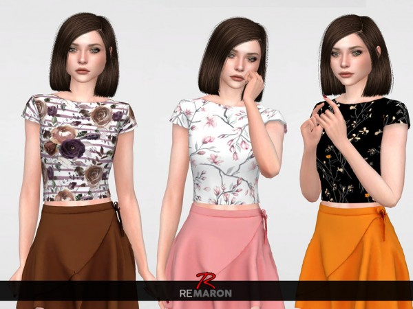 The Sims Resource: Flower Shirt for Women 01 by remaron