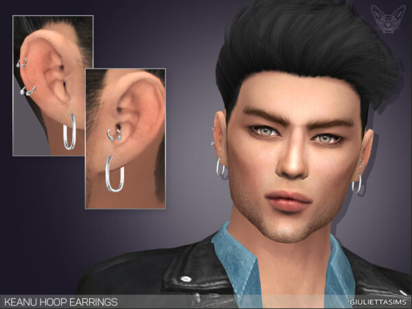 The Sims Resource: Keanu Hoop Earrings For Men by feyona