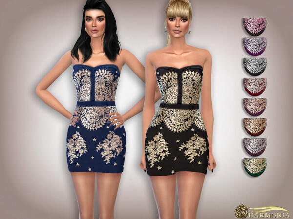The Sims Resource: Lace Embroidery Cocktail Dress by Harmonia