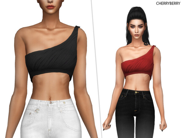 The Sims Resource: Laura   One Shoulder Top by CherryBerrySim