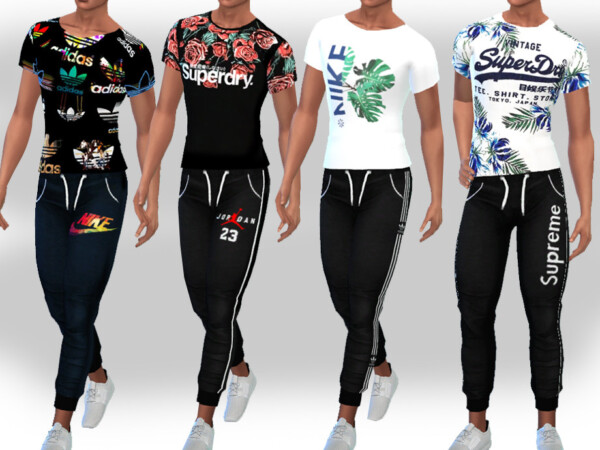 The Sims Resource: Logo Jogging Pants by Saliwa