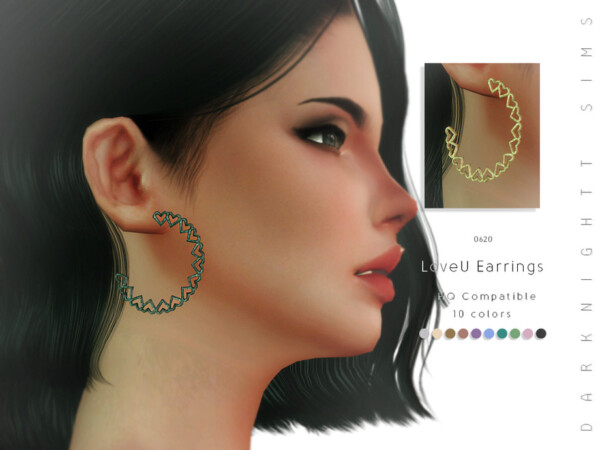 The Sims Resource: LoveU Earrings by DarkNighTt