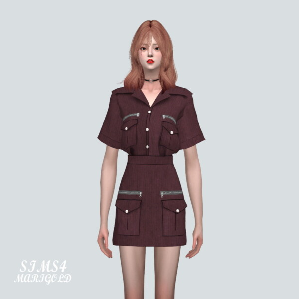 SIMS4 Marigold: Military Look 2 Piec