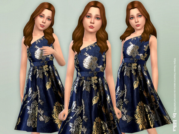 The Sims Resource: Navy One Shoulder Dress by lillka