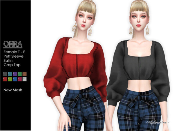 The Sims Resource: ORRA   Puff Sleeve Blouse by Helsoseira
