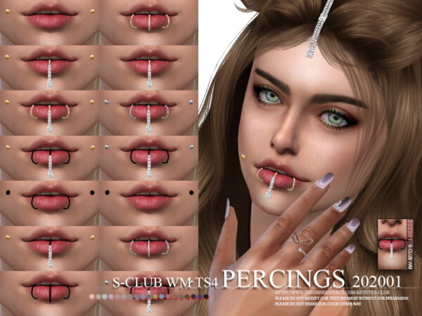 The Sims Resource: Percings 202001 by S Club