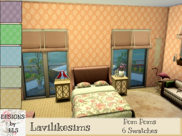 The Sims Resource: Floral Poms Walls by lavilikesims