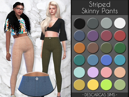 Descargas Sims: Striped Skinny Pants