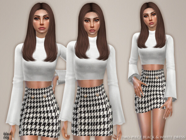 The Sims Resource: Two Piece Black and White Dress by Black Lily