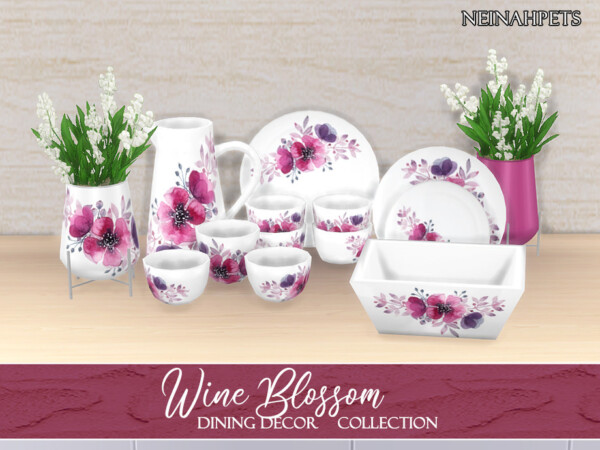 The Sims Resource: Wine Blossom Dining Decor by neinahpets