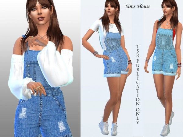 The Sims Resource: Womens denim overalls with shorts by Sims House
