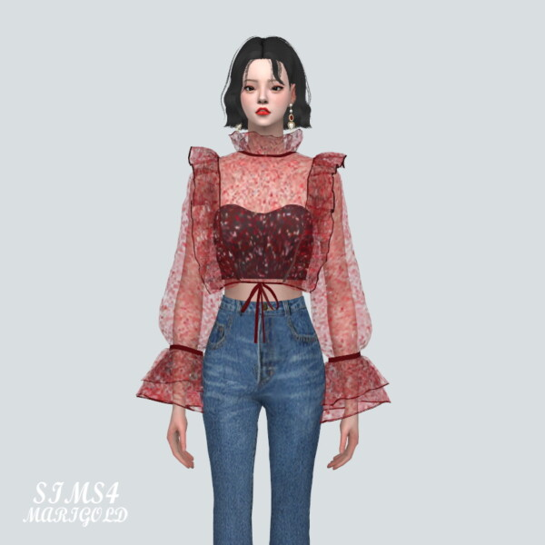 Glitter See Through Blouse from SIMS4 Marigold