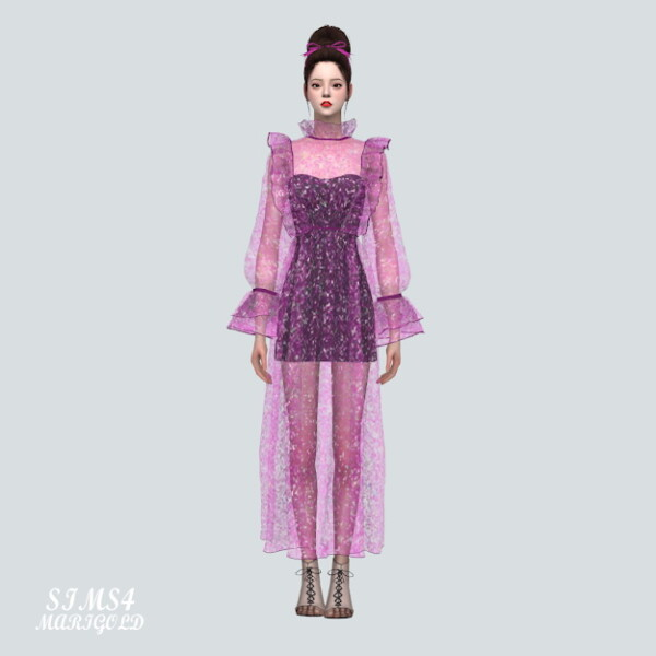 Glitter See Through Long Dress from SIMS4 Marigold