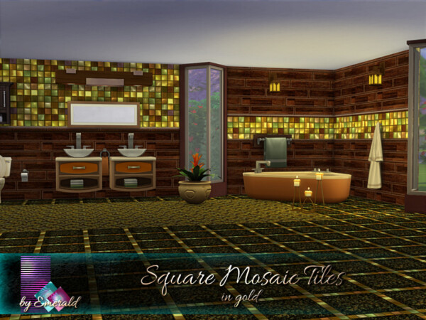 The Sims Resource: Square Mosaic Tiles in gold by emerald