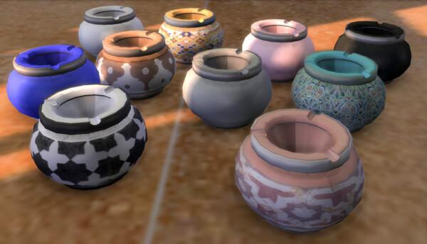Riekus13: Joyfulgirl's pouf, Moroccan ashtray, slippers and lamp