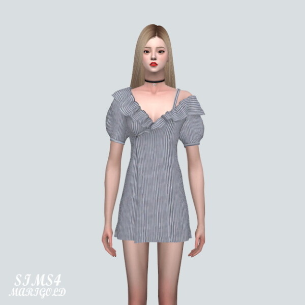 SIMS4 Marigold: AB Off Shoulder Wrap Mini Dress