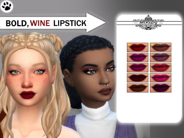 The Sims Resource: Bold Wine Colored Lipstick by MsBeary