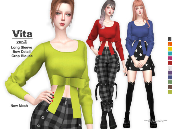 The Sims Resource: Bow Crop Top by Helsoseira