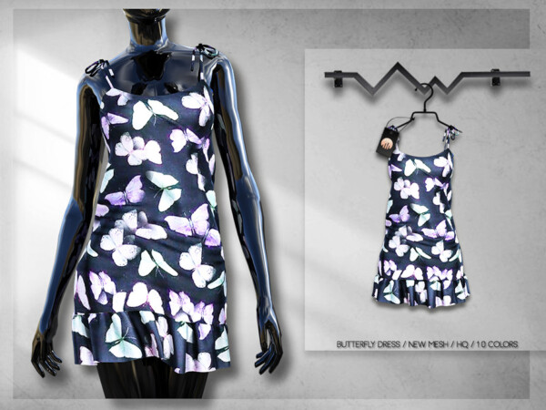 The Sims Resource: Butterfly Dress BD282 by busra tr