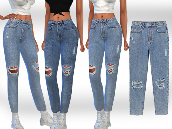 The Sims Resource: Cropped Mesh Slim Mom Jeans by Saliwa