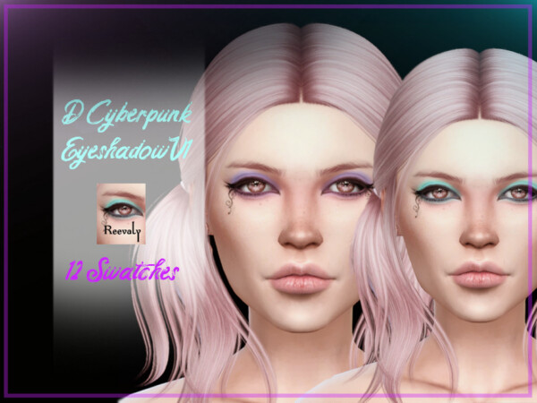 The Sims Resource: D Cyberpunk Eyeshadow V1 by Reevaly