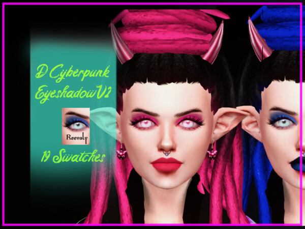 The Sims Resource: D Cyberpunk Eyeshadow V2 by Reevaly