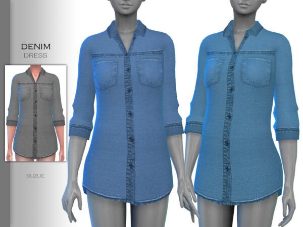The Sims Resource: Denim Dress by Suzue