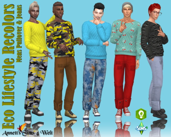 Annett`s Sims 4 Welt: Eco Lifestyle Recolors   Mens Pullover and Jeans
