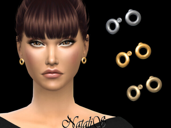 The Sims Resource: Flat circle stud earrings by NataliS