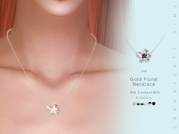 The Sims Resource: Gold Floral Necklace by DarkNighTt