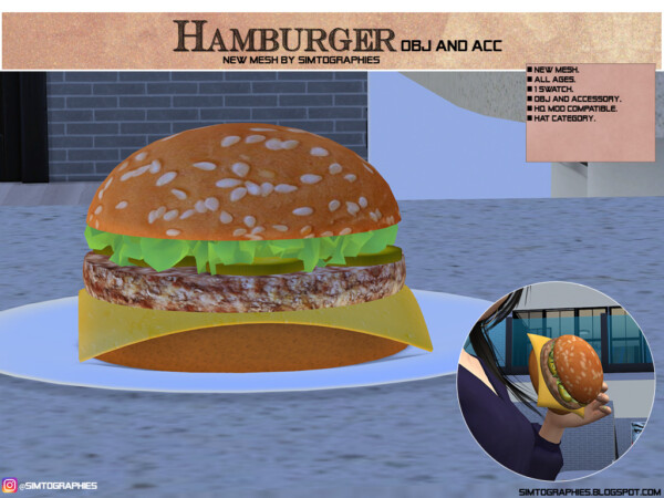 Simtographies: Andrea vest, Beth dress, Anna outfit, Toddler toy and Hamburguer
