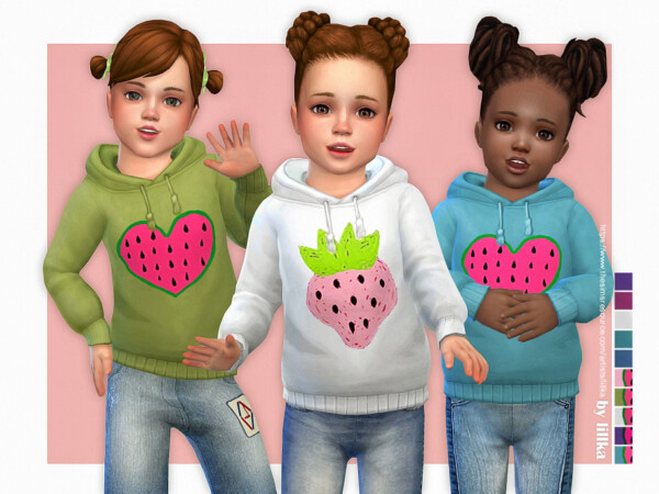 The Sims Resource: Hoodie for Toddler Girls P08 by lillka