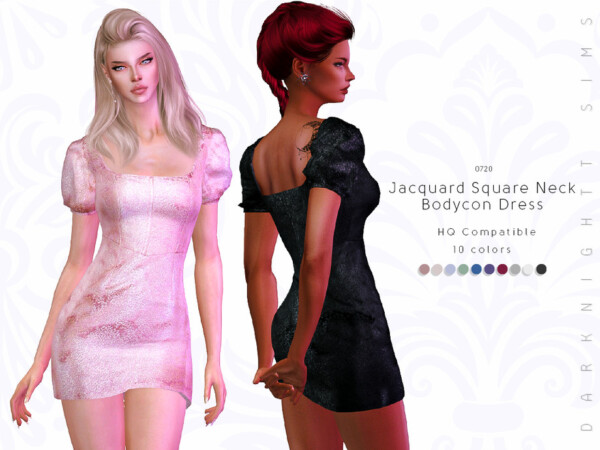 The Sims Resource: Jacquard Square Neck Bodycon Dress by DarkNighTt