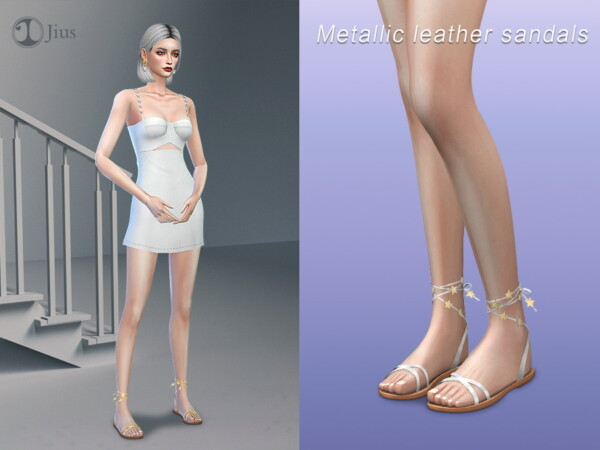 The Sims Resource: Metallic leather sandals 01 by Jius