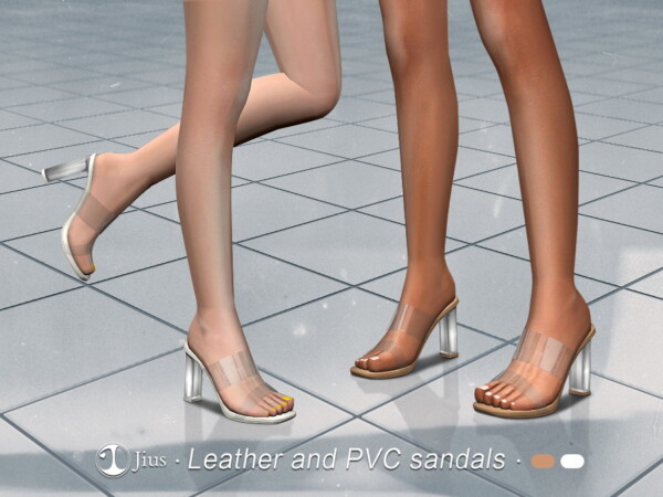 The Sims Resource: Leather and PVC sandals by Jius