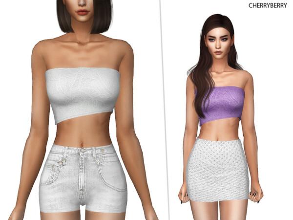The Sims Resource: Lia Asymmetrical Tube Top by CherryBerrySim
