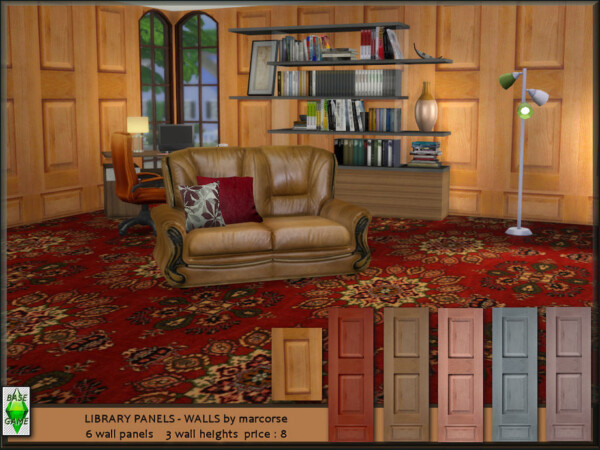 The Sims Resource: Library Panels Walls by marcorse