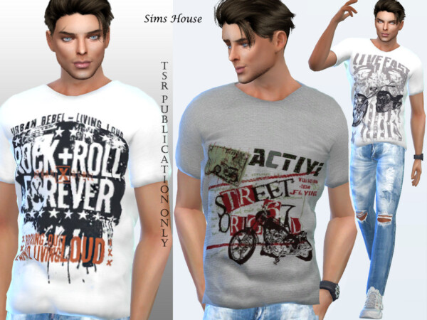 The Sims Resource: Mens retro grunge t shirt by Sims House