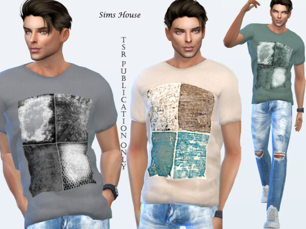 The Sims Resource: Mens t shirt with print four colors by Sims House