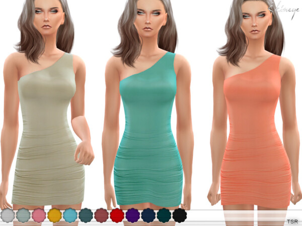 One Shoulder Ruched Dress by ekinege from TSR