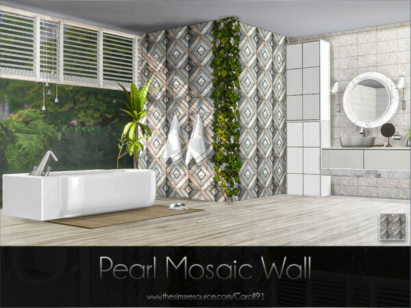 The Sims Resource: Pearl Mosaic Wall by Caroll91